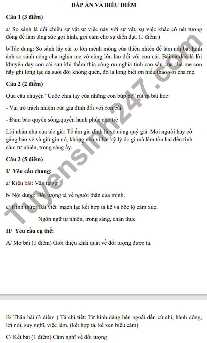 De khao sat chat luong dau nam mon Van lop 7 nam 2021 (Co dap an)