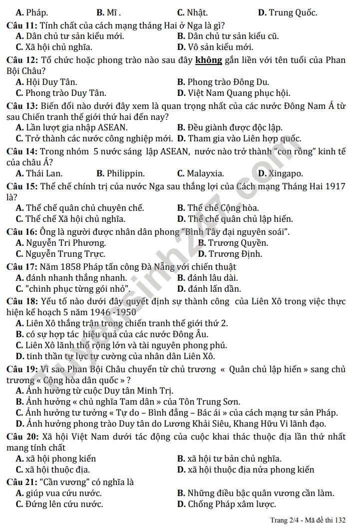 De KSCL dau nam lop 12 mon Su 2021 - THPT Ly Thuong Kiet