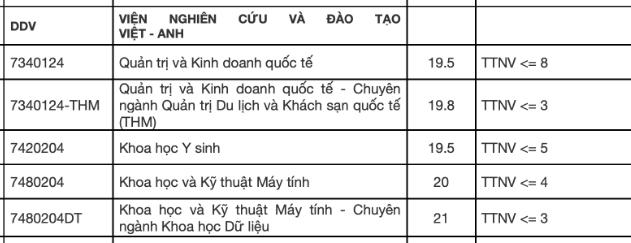 Vien Nghien Cuu Va Dao Tao Viet Anh - DH Da Nang cong bo diem chuan 2021