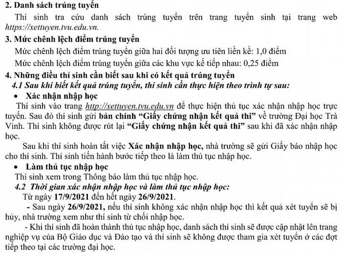 Da co diem chuan 2021 Dai hoc Tra Vinh