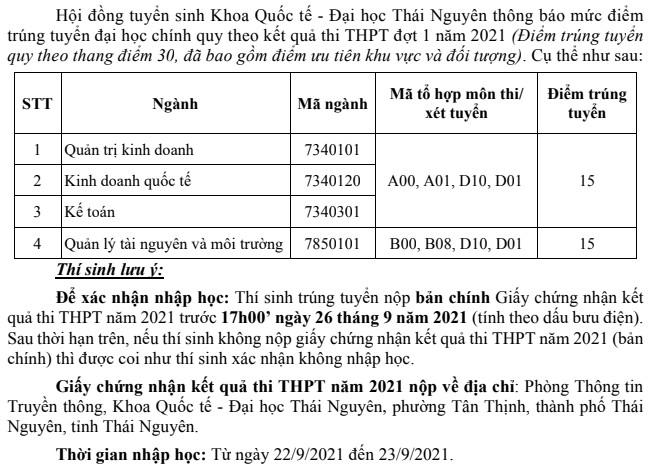 Diem chuan nam 2021 Khoa Quoc Te - DH Thai Nguyen