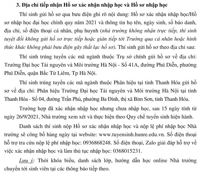 Thu tuc nhap hoc DH Tai nguyen va Moi truong Ha Noi nam 2021