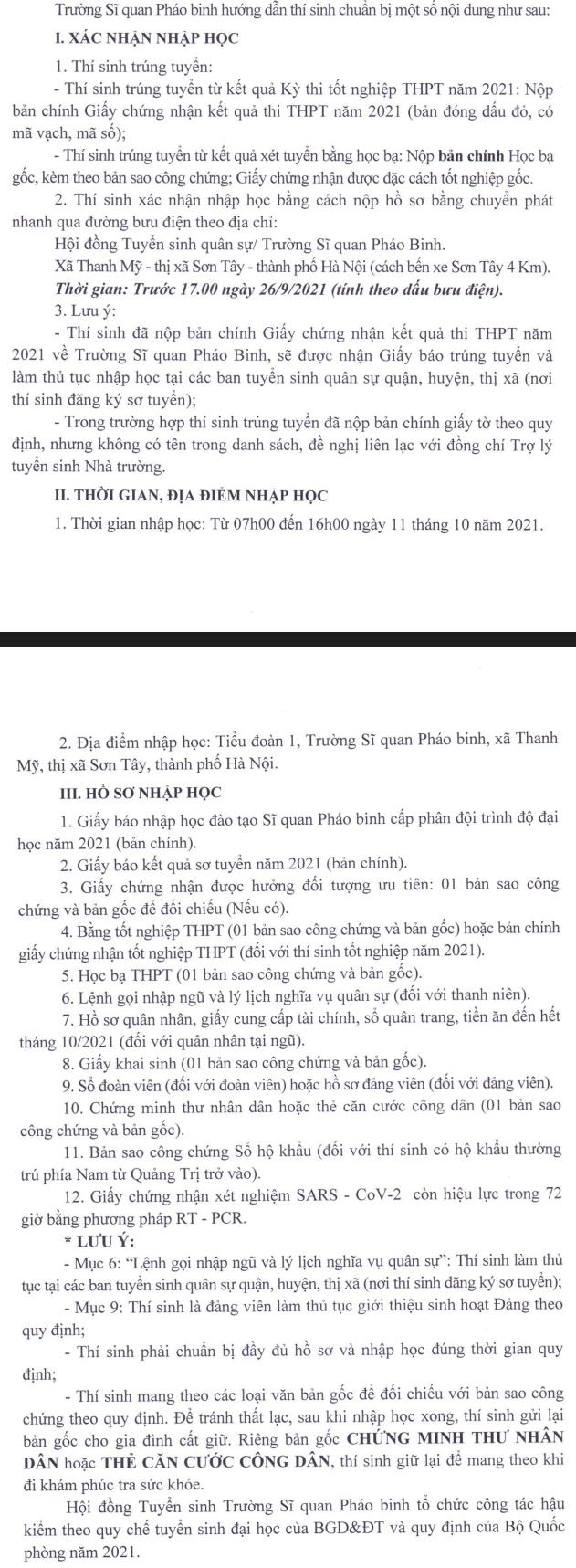 Truong Si quan Phao binh cong bo ho so nhap hoc 2021