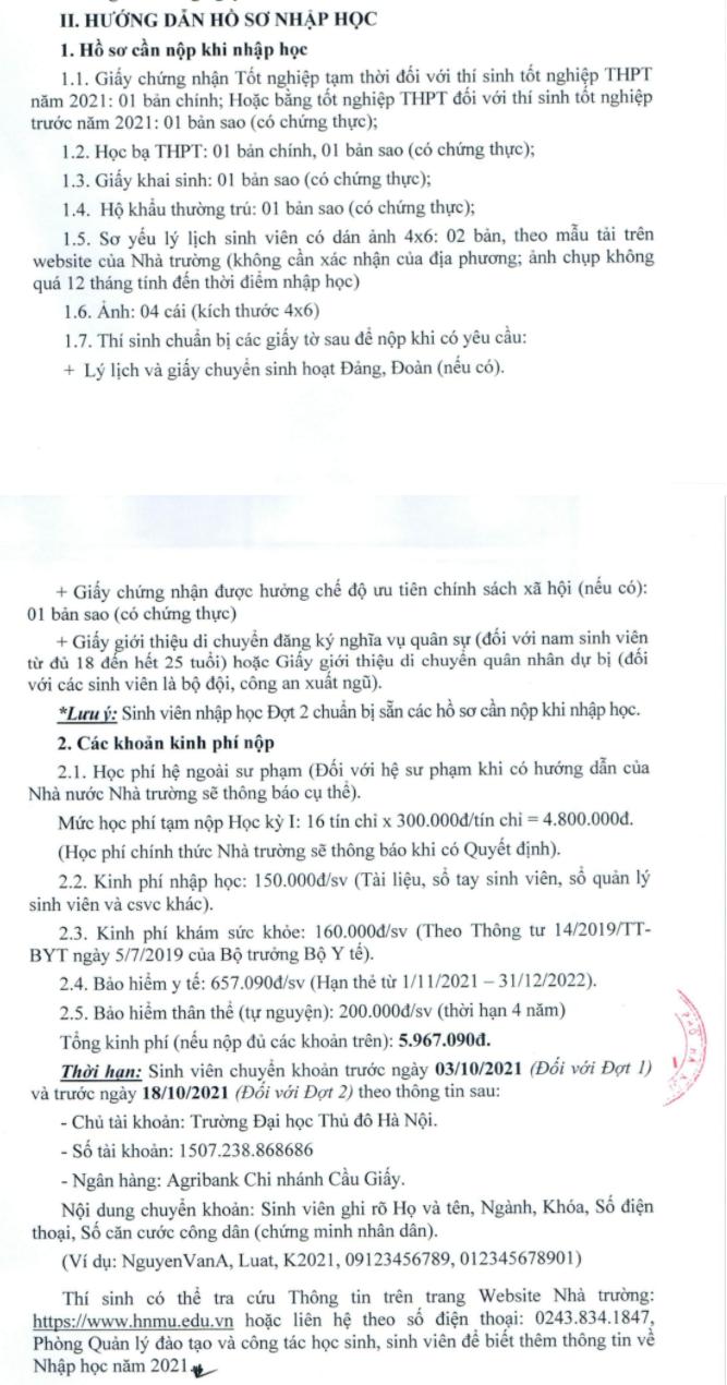 Thu tuc nhap hoc Dai hoc Thu Do Ha Noi nam 2021