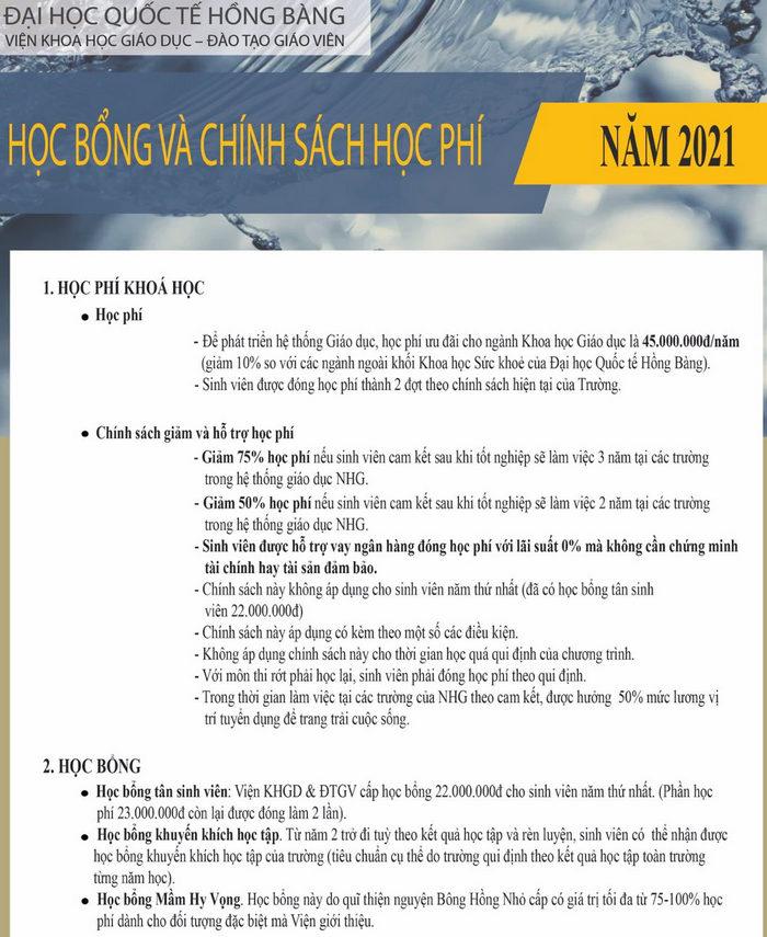 Hoc phi nam 2021 Dai hoc Quoc te Hong Bang