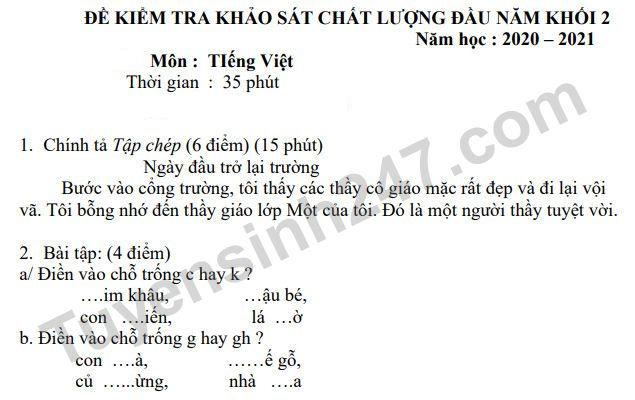 De thi khao sat chat luong dau nam lop 2 mon Tieng Viet - TH Dai Dong 2021