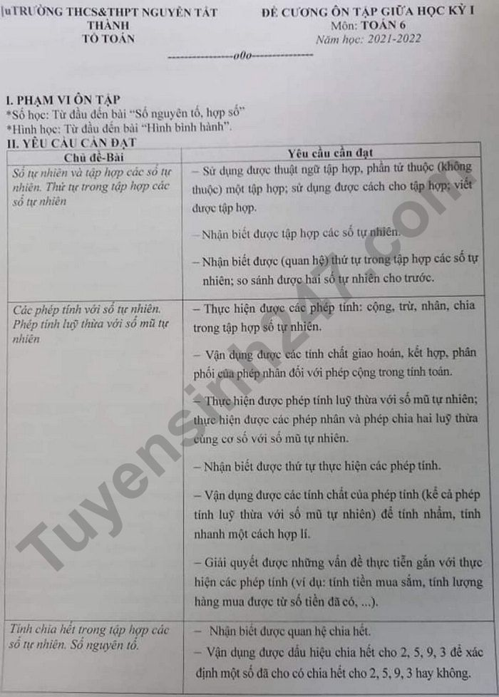 De cuong on thi giua ki 1 lop 6 mon Toan - THCS&THPT Nguyen Tat Thanh