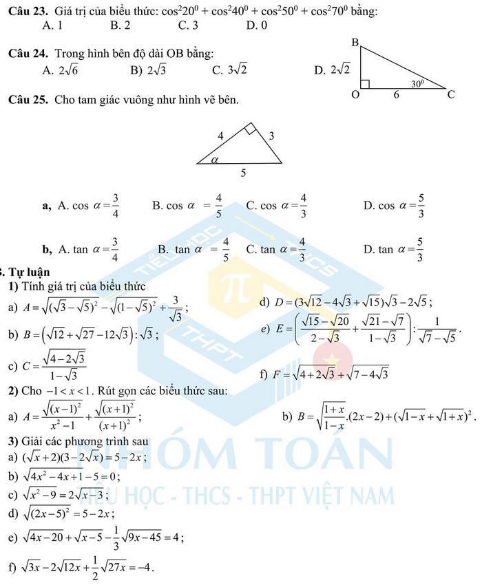 De cuong on thi giua ki 1 mon Toan lop 9 - THCS&THPT Nguyen Tat Thanh 2021