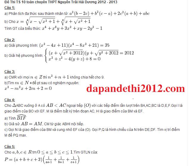 Điểm thi lớp 10 năm 2012 8410ee9544279694f05c6869c75826c4 46403117.haiduong Đáp án đề thi môn toán lớp 10 chuyên HẢI DƯƠNG năm 2012
