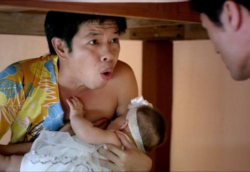Một cảnh hài hước của Thái Hòa trong phim