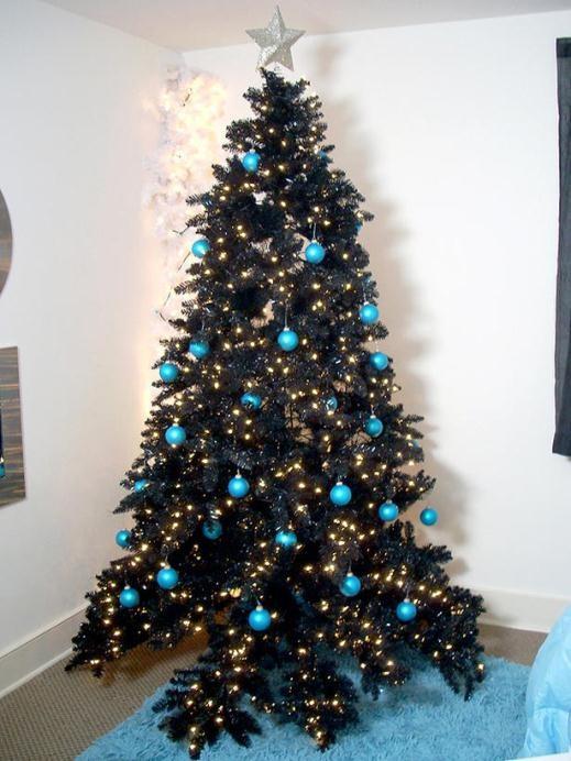 cách trang trí cây thông Noel, màu đen, giáng sinh