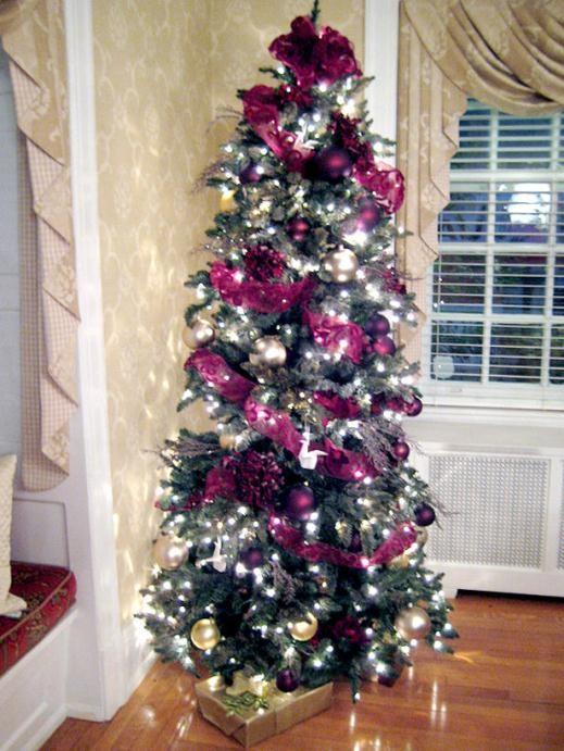 cách trang trí cây thông Noel, màu tím, giáng sinh, cổ điển