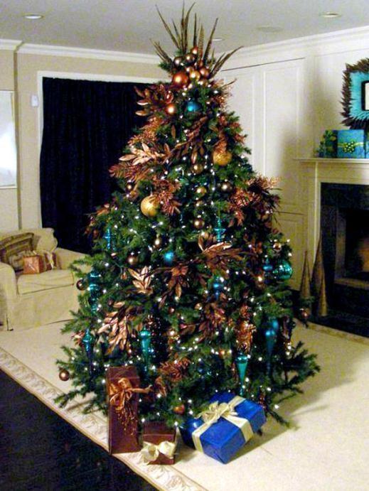 cách trang trí cây thông Noel, màu đồng, xanh mòng két, giáng sinh