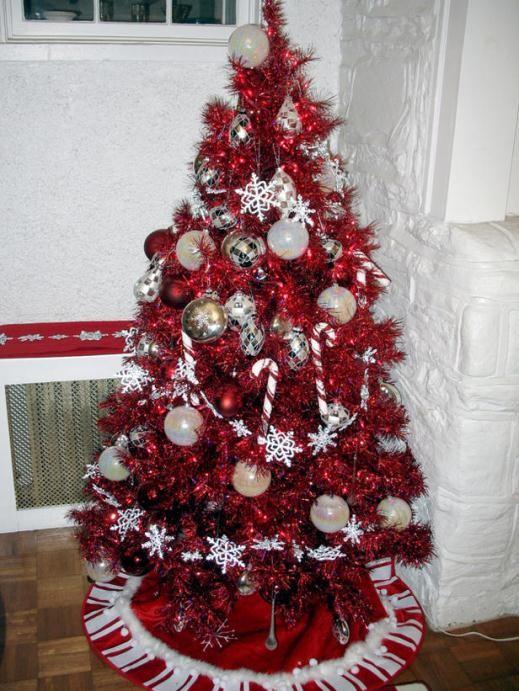 cách trang trí cây thông Noel, retro, màu đỏ, giáng sinh