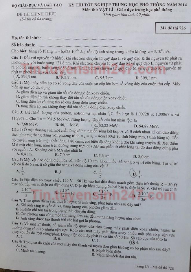 Dap an de thi tot nghiep mon Ly nam 2014 ma de 726