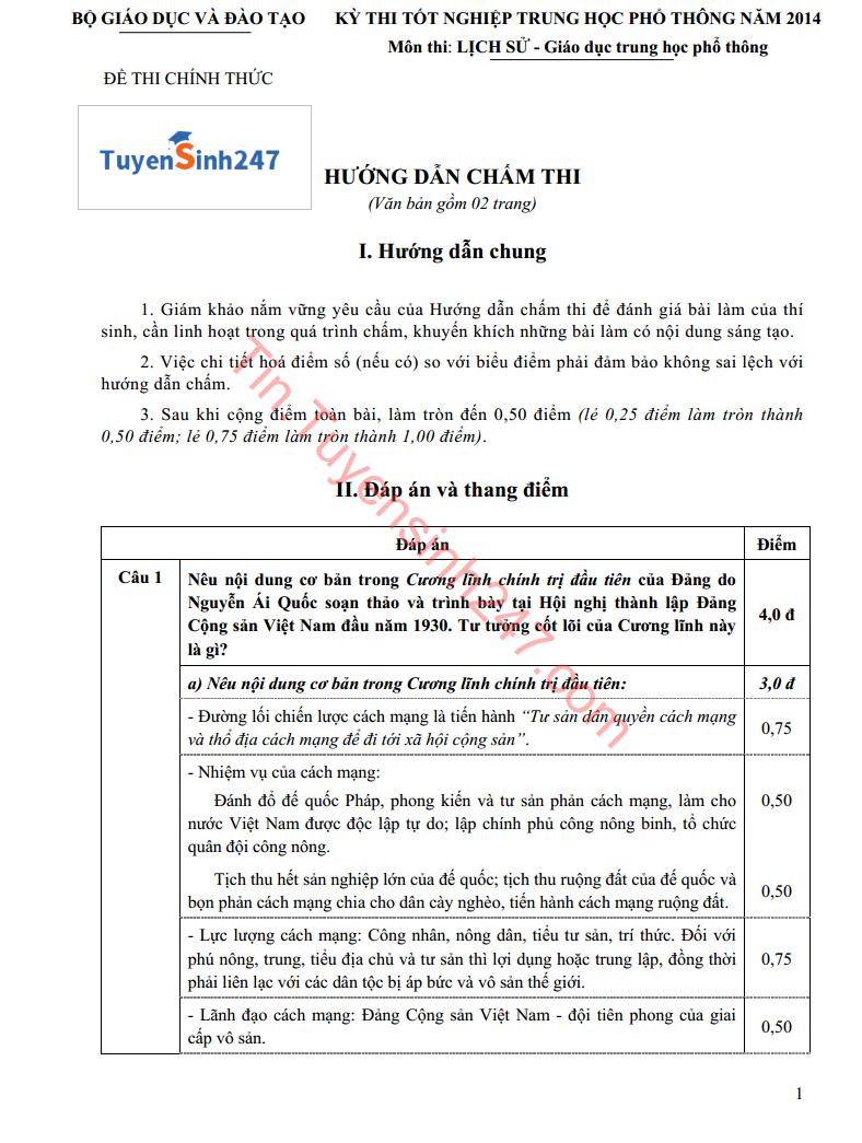 Dap an de thi tot nghiep mon Su cua Bo GD&DT nam 2014