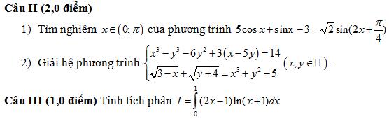 De thi thu dai hoc mon Toan khoi A,A1,B nam 2014 tinh Hai Duong