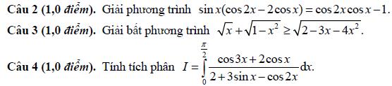 De thi thu dai hoc mon Toan khoi A,A1 nam 2014 lan cuoi THPT chuyen DH Vinh