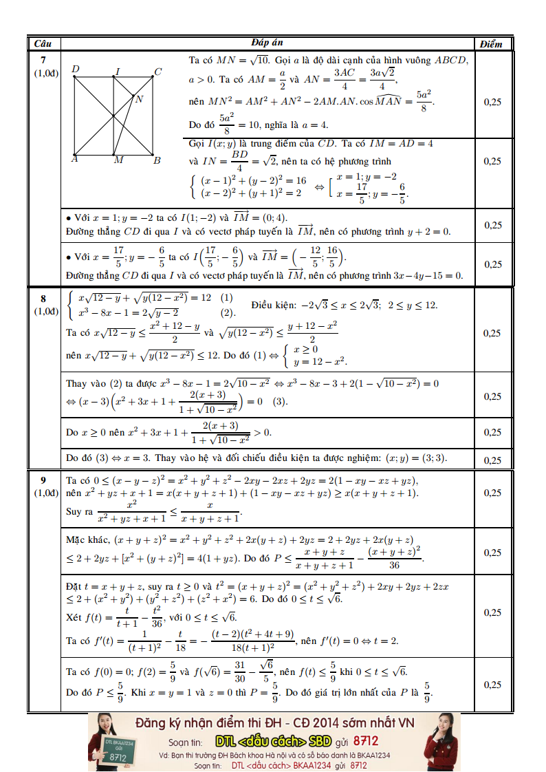 Dap an de thi mon Toan khoi A, A1 nam 2014 cua Bo GD&DT