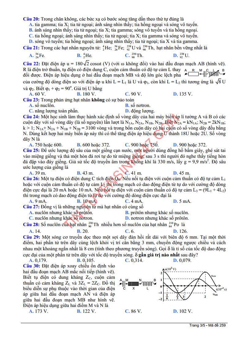 De thi mon ly khoi a nam 2014 trang 3