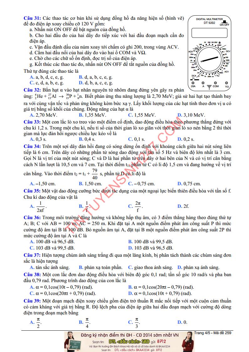 De thi mon ly khoi a nam 2014 trang 4