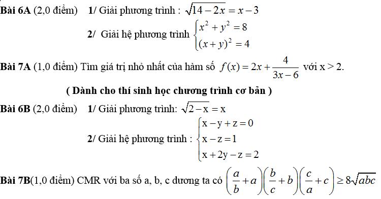 De thi hoc ki 1 lop 10 mon Toan nam 2014 Truong THPT Nguyen Du