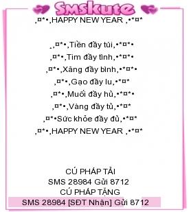 SMS kute chuc mung nam moi 2015