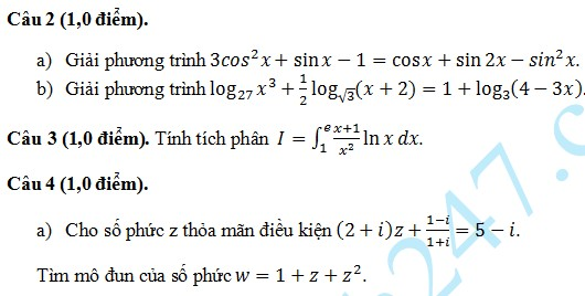 De thi thu THPT Quoc gia mon Toan THPT Luong The Vinh 2015