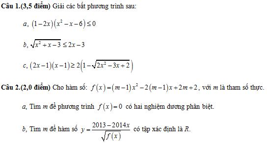 De thi giua hoc ki 2 lop 10 mon Toan nam 2014 (De so 1)