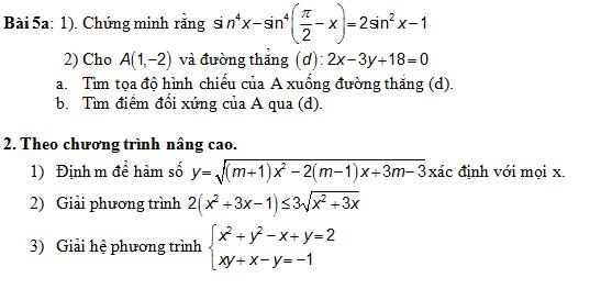 De thi hoc ki 2 lop 10 mon Toan nam 2014 (P1)