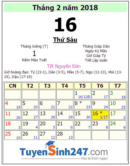 Tết 2018 vào ngày mấy dương lịch?