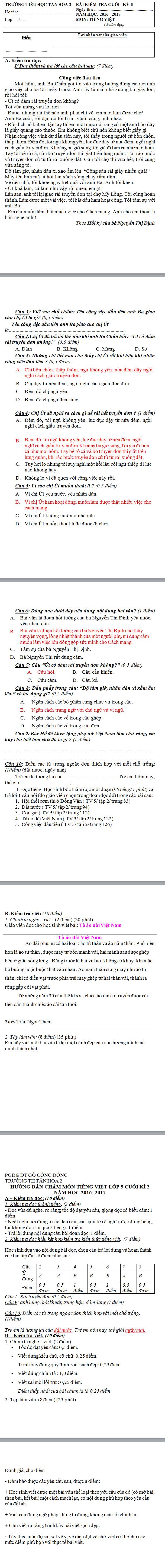 De thi hoc ki 2 lop 5 mon Tieng Viet - TH Tan Hoa nam 2017