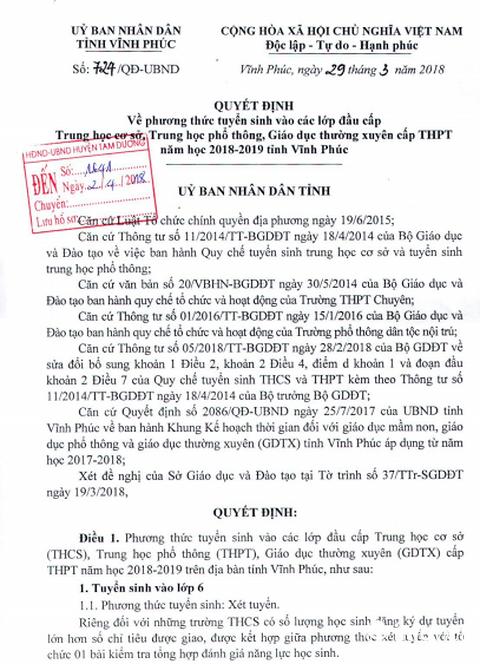 Tuyen sinh vao lop 10 Vinh Phuc 2018 them bai thi to hop