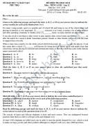 Đề thi học kì 2 lớp 12 môn Tiếng Anh - Sở GD&ĐT Phú THọ 2018