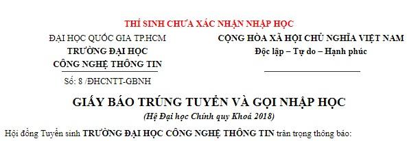 Ho so nhap hoc DH Cong nghe thong tin - DHQGTPHCM 2018