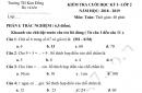 Đề thi kì 1 lớp 2 môn Toán 2018 - TH Kim Đồng