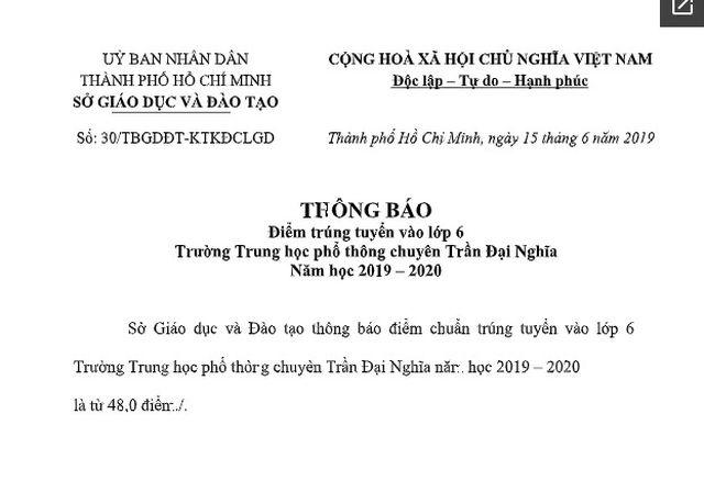 Đạt 48 điểm là trúng tuyển vào lớp 6 Trường THPT chuyên Trần Đại Nghĩa - 2