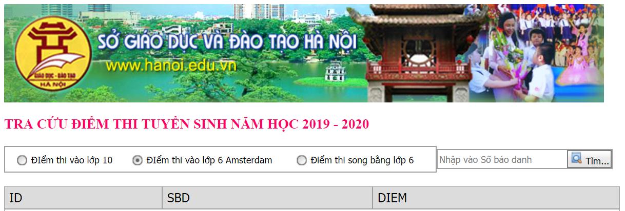 Điểm thi vào lớp 6 Chuyên Amsterdam Hà Nội 2019