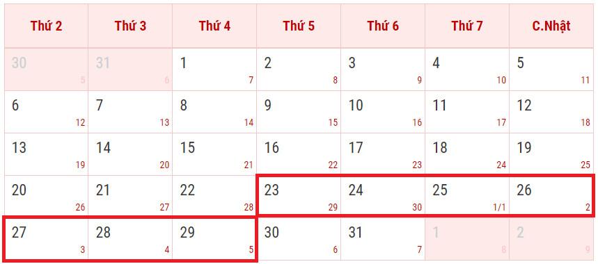 Lịch nghỉ tết âm lịch 2020 Canh Tý