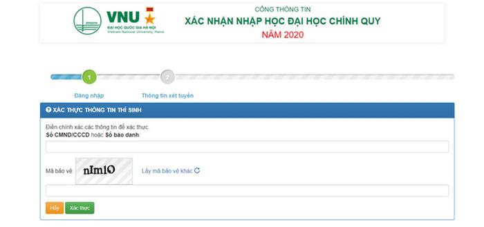 Thí sinh ĐH Quốc gia Hà Nội tiến hành nhập học trực tuyến 2020