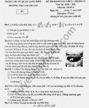 Đề khảo sát lớp 9 tháng 11 THCS Thanh Am môn Toán năm 2020