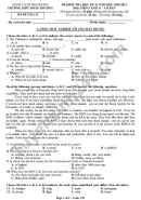 Đề thi học kì 2 môn Anh lớp 11 THPT Đoàn Thượng năm 2021