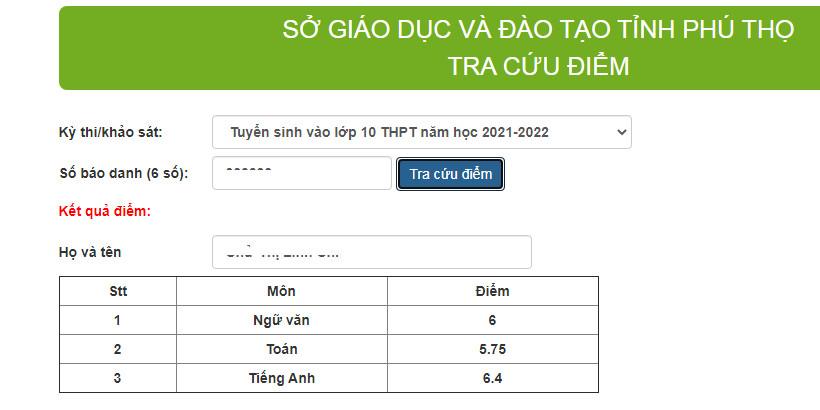 Đã có điểm thi vào lớp 10 tỉnh Phú Thọ 2021