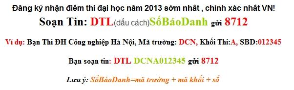 Dap an de thi dai hoc khoi B nam 2013 cua bo GD&DT