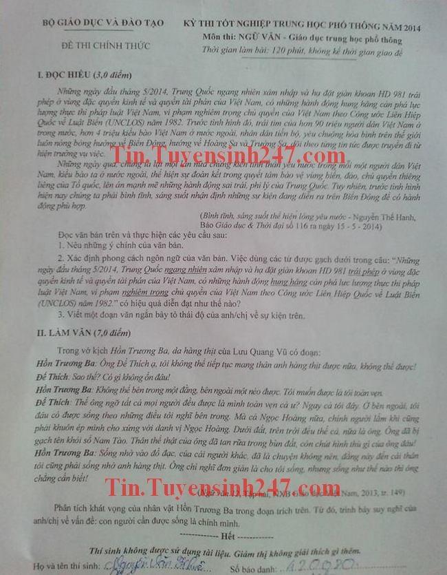 De thi tot nghiep THPT mon Van nam 2014